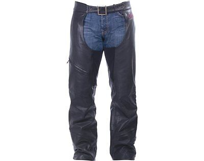 Men's Indian Motorcycle Chaps - Black Leather 2863712
