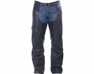 Men's Indian Motorcycle Chaps - Black Leather
