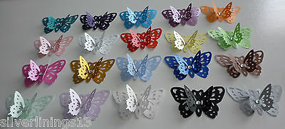 10 x LOVELY 3D PEARLESCENT BUTTERFLIES. MANY COLOURS. WEDDINGS/PARTIES