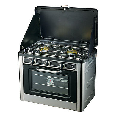 NEW CAMPING PORTABLE STOVE OVEN + 2 Burners, LPG Gas, Stainless, Wind Proof, 24L