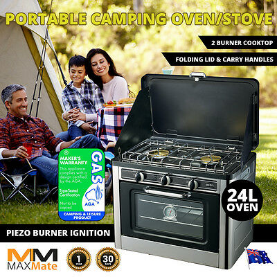 NEW MAXMATE Camping PORTABLE OUTDOOR OVEN STOVE, Stainless 2 Burners LPG, Bonus