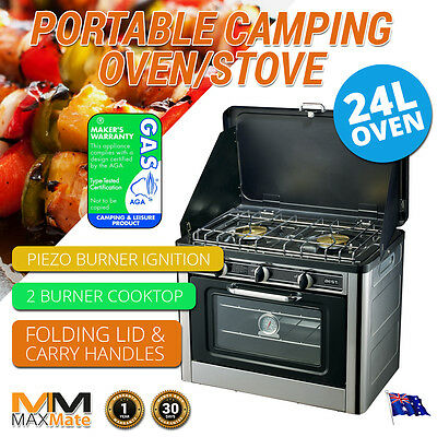 NEW CAMPING PORTABLE STOVE OVEN + 2 Burner LPG Gas, Stainless, Wind Proof, 24L