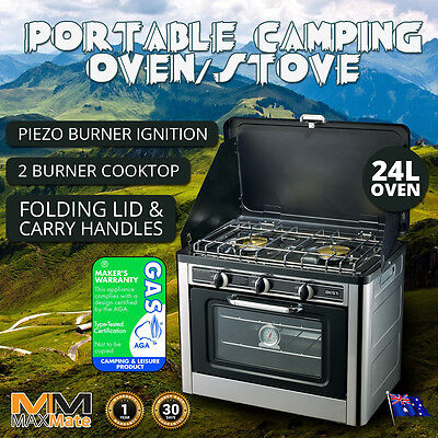 NEW CAMPING STOVE OVEN 24L + 2 Burners LPG, Stainless, Wind Proof Portable Bonus