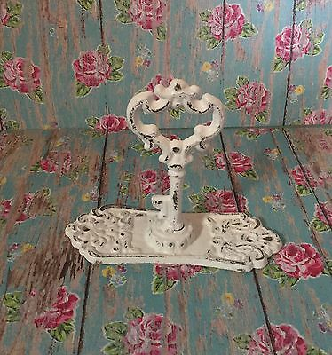 Cast Iron AntIque Style  Key Backplate Towel Hook jewelry  Shabby Chic White