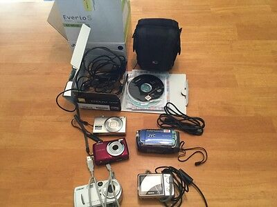 Camera Lot Nikon JVC Sony 5 Cameras and cords