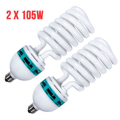 2x 105Watt Photo Studio Bulbs Day Light Compact Fluorescent CFL 6500K / 800W