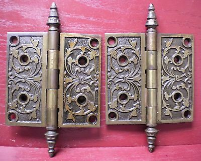 "2 Antique Fancy 5"" X 5"" Heavy Door Hinges Original Screws #02"