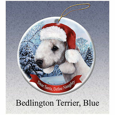 Bedlington Terrier Blue Howliday Porcelain China Dog Christmas Ornament