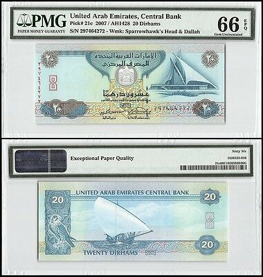 United Arab Emirates- UAE 20 Dirhams,2007,P-21c,Sparrowhawk's,PMG 66