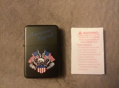 American Legend Bald Eagle & Flags Refillable Lighter Black, Red, White&Blue New