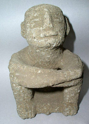 Outstanding Large carved basalt Seated Sukia Figure, Costa Rica. 1000AD-1500AD