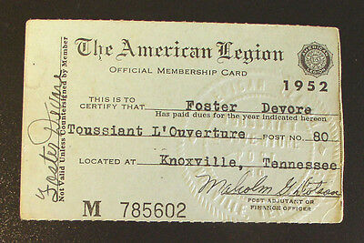1952 Toussiant L' Ouverture Post of the American Legion Membership Card