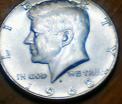 1968-D Kennedy Half Dollar 40 percent Silver USA. Clean and shiny.