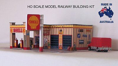 HO Scale Shell Classic 1950's Petrol Station Model Railway Building Kit - SPS2