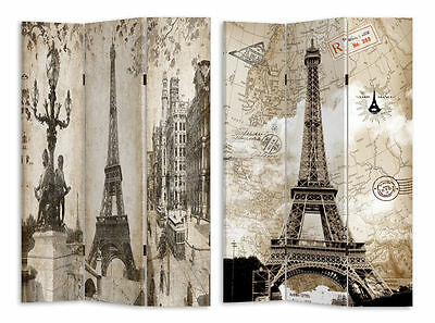 NEW Large 3 Panels Paris / Eiffel Tower Room Divider / Screen