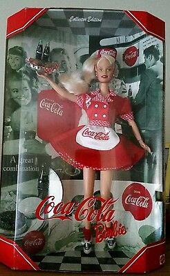 Barbie Coca-Cola 1998 Doll Car Hop Roller Skate Waitress '50's Collector Toy NEW