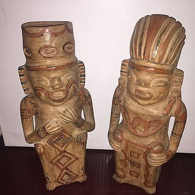"Two Large Pre-Columbian Pottery Figurines 18"" and 19.5"" height"