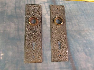 Pair Eastlake Door knob back plate keyed large 5 3/4 inch tall Ornate