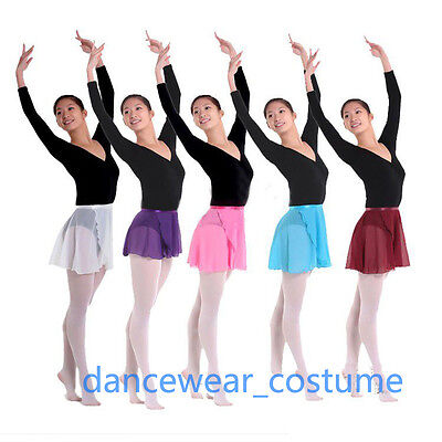 Ladies Girls Wrap Over Scarf Skirt Ballet Leotard Tutu Dance Skate Dress 8Colors