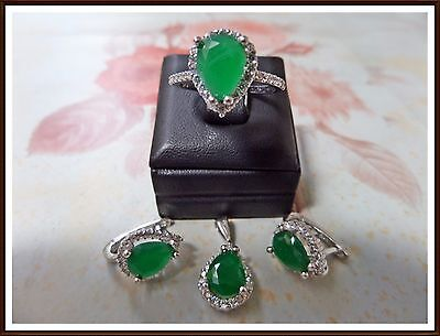 Ladies Turkish Made Jewelry / 925 Sterling Silver Green Emerald Set Ring Sz 7.25