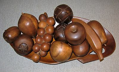 Vintage Carved Wooden Fruit and Fruit Tray ~ Beautiful Display/Home Decor Item