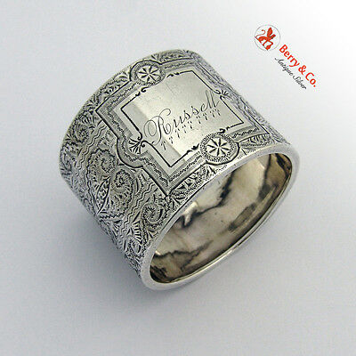 Arabesque Engraved Napkin Ring Coin Silver 1880 Russell