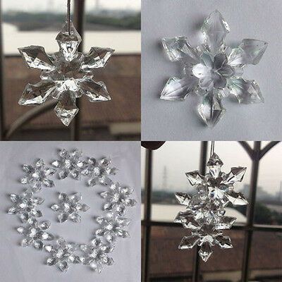 12pcs Christmas Crystal Snowflakes Ornaments Xmas Tree Party Hanging Decoration