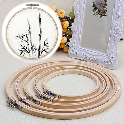 Wooden Cross Stitch Machine Embroidery Hoop Ring Bamboo Sewing Glaring