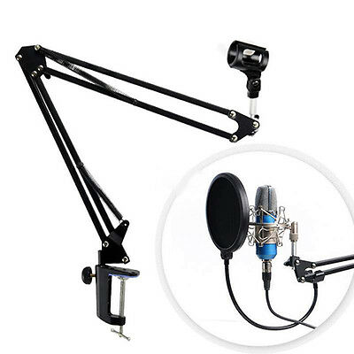 Mic Microphone Suspension Boom Scissor Arm Stand Holder for Studio Deluxe