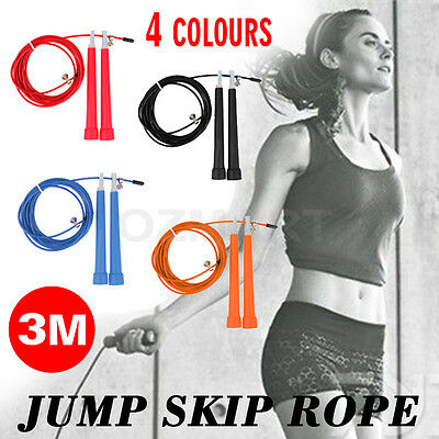 Adjustable Crossfit Speed Cable Wire Skipping Jump Rope  3M Length Cardio Heart