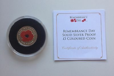 New Remembrance Day Poppy Solid Silver Proof £1 One Pound Coloured Coin