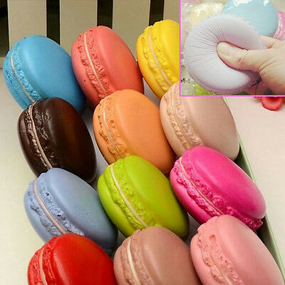 1pc Random Candy Color Soft Dessert Macaron Squishy Key Cell Phone Charm Straps