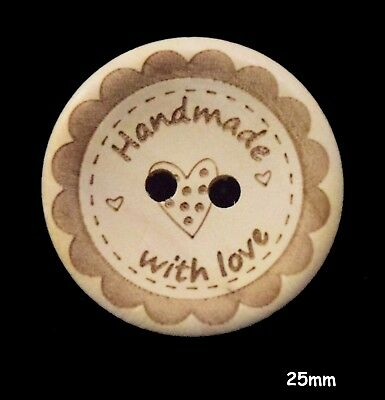 10 Brown Wooden Round 4 Hole Buttons, 30MM - Craft, Sewing BU1125