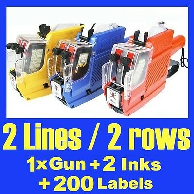 NEW Price Pricing Gun Labeller 2 Lines 10 Digits + 200 Labels & 2 Inks