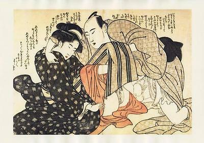 Japanese Reproduction Woodblock Print Shunga Style A19 Erotic A4 Parchment Paper