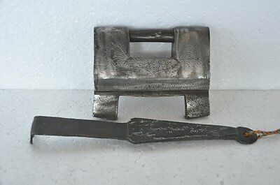 1930's Old Iron Engraved Handcrafted Unique Solid Heavy Strip System Padlock