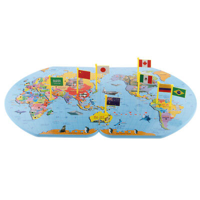 Wooden World Map Flag Matching Puzzle Geography Educational Toy w/ 36 Flags