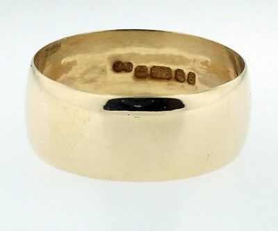 9Ct Yellow Gold Plain D Shaped Wedding Band/Ring (Size N) 7mm Width