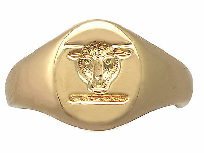 18ct Yellow Gold Signet Ring - Antique 1929
