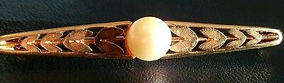 Vintage Hallmarked 14ct/14k Solid Yellow Gold & Pearl Brooch
