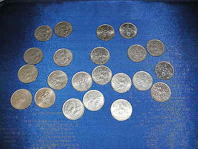 Job Lot Of 23 X 5 New Pence Coins - Old Large Type - 1968-1979