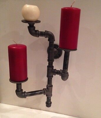 Industrial pipe 3 candle holder sconce
