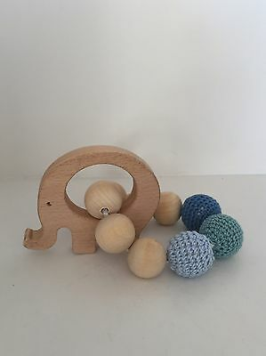 Elephant Natural Wooden Baby Teether Rattle Gift Blue
