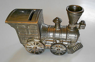 """Silver Plated Train 6"""" Coin Bank, Japan"""