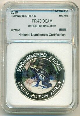 Malawi 2010 10 Kwacha - Endangered Frogs Dyeing Poison Arrow Proof UNC BU