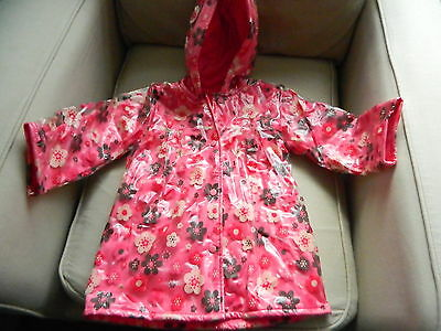 Mothercare Girls Pink Floral Fleece Lined Pvc Rain Coat Age 2-3 New With Tags