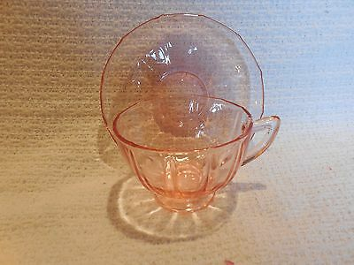 """Fostoria """"Fairfax"""" #2375 Rose (pink) Footed cup and Saucer"""