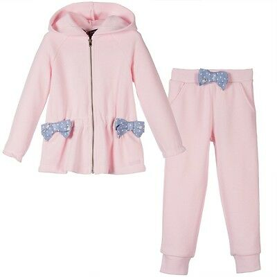 Lili Gaufrette Baby Pink Bow Tracksuit Outfit 3 Years