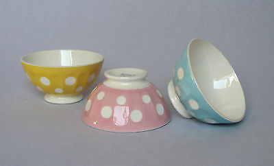 TRIO OF VINTAGE FRENCH CERAMIC CAFE AU LAIT BOWLS with Polka dots
