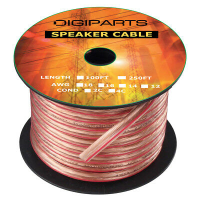 14GA Gauge 2C Conductors 100FT OFC Oxygen Free Copper Clear Speaker Wire Cable